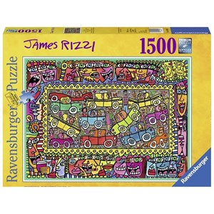 "Ravensburger (16356) - James Rizzi: ""We are on our way to your party"" - 1500 pieces puzzle"