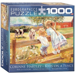 """Eurographics (8000-0450) - Corinne Hartley: """"Kids on a Fence"""" - 1000 pieces puzzle"""