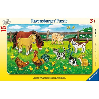"Ravensburger (06046) - ""Farm Animals in The Meadow"" - 15 pieces puzzle"