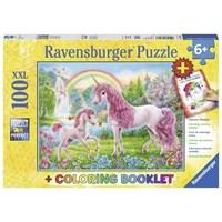 "Ravensburger (13698) - ""Magical Unicorns + Coloring Book"" - 100 pieces puzzle"