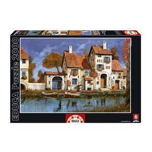 """Educa (16316) - Guido Borelli: """"La Cascina Sul Lago"""" - 2000 pieces puzzle"""