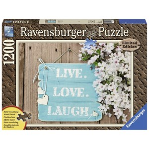 "Ravensburger (19913) - ""Wood Finish, Live, Love, Laugh"" - 1200 pieces puzzle"