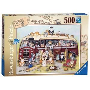 "Ravensburger (14750) - Linda Jane Smith: ""Crazy Cats Vintage Bus"" - 500 pieces puzzle"