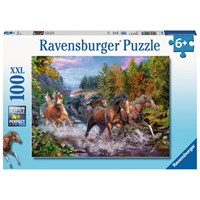 """Ravensburger (10403) - """"Rushing River Horses"""" - 100 pieces puzzle"""