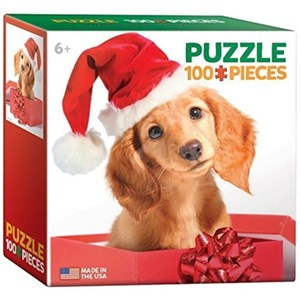 """Eurographics (8104-0670) - """"Holiday Puppy"""" - 100 pieces puzzle"""