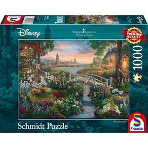 "Schmidt Spiele (59489) - Thomas Kinkade: ""101 Dalmatians"" - 1000 pieces puzzle"
