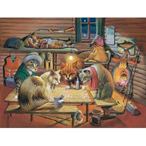 """SunsOut (28005) - Bryan Moon: """"Cats Playing Poker"""" - 500 pieces puzzle"""