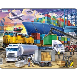 """Larsen (US44) - """"Busy Cargo Hub With Ships, Trucks, Trains and Planes"""" - 37 pieces puzzle"""