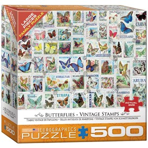 """Eurographics (8500-5356) - Barbara Behr: """"Butterflies Vintage Stamps"""" - 500 pieces puzzle"""