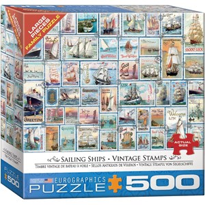 """Eurographics (8500-5357) - Barbara Behr: """"Sailing Ships Vintage Stamps"""" - 500 pieces puzzle"""