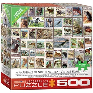 """Eurographics (8500-5359) - """"Animals of North America, Vintage Stamps"""" - 500 pieces puzzle"""