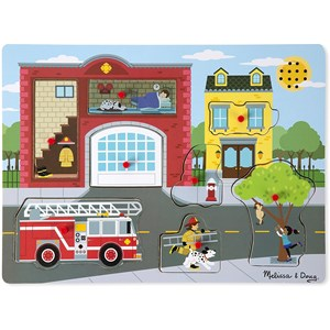"""Melissa and Doug (10736) - """"Around the Fire Station, Sound Puzzle"""" - 8 pieces puzzle"""