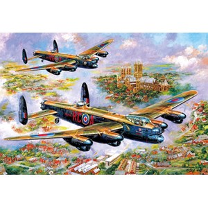 """Gibsons (G3113) - Jim Mitchell: """"Lancasters Over Lincoln"""" - 500 pieces puzzle"""