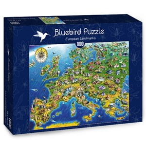 "Bluebird Puzzle (70322) - Adrian Chesterman: ""European Landmarks"" - 1000 pieces puzzle"
