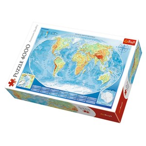 "Trefl (45007) - ""Physical Map of the World"" - 4000 pieces puzzle"