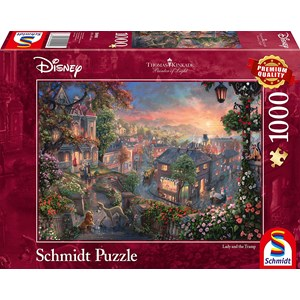 "Schmidt Spiele (59490) - Thomas Kinkade: ""Disney Lady and the Tramp"" - 1000 pieces puzzle"