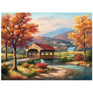 "SunsOut (36608) - Sung Kim: ""Fall at the Covered Bridge"" - 1000 pieces puzzle"