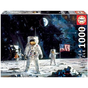 "Educa (18459) - Robert McCall: ""First Men on the Moon"" - 1000 pieces puzzle"