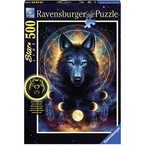 """Ravensburger (13970) - """"Glowing Wolf"""" - 500 pieces puzzle"""