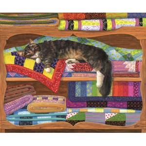 """SunsOut (31649) - Linda Elliott: """"Quilt Cupboard"""" - 1000 pieces puzzle"""