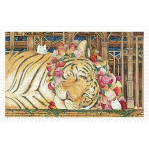"""Pintoo (h2146) - Cotton Lion: """"Goodnight Tiger"""" - 1000 pieces puzzle"""