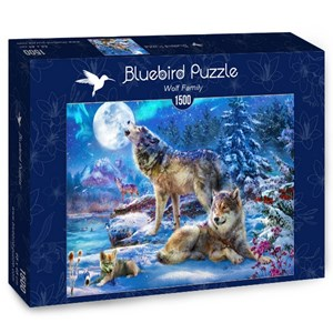 "Bluebird Puzzle (70147) - Jan Patrik Krasny: ""Winter Wolf Family"" - 1500 pieces puzzle"