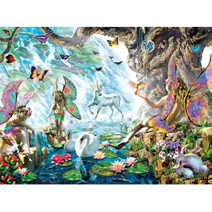 """SunsOut (68020) - Adrian Chesterman: """"Fairies at the Falls"""" - 1000 pieces puzzle"""