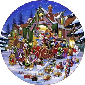 "SunsOut (15534) - Randal Spangler: ""Here Comes Santa Paws Road"" - 500 pieces puzzle"