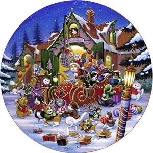 "SunsOut (15534) - Randal Spangler: ""Here Comes Santa Paws Road"" - 500 pieces puzzle"