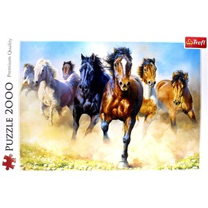 """Trefl (27098) - """"Galloping Herd of Horses"""" - 2000 pieces puzzle"""