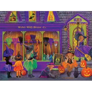 """SunsOut (35970) - Tricia Reilly-Matthews: """"Witch Broom Shop"""" - 300 pieces puzzle"""