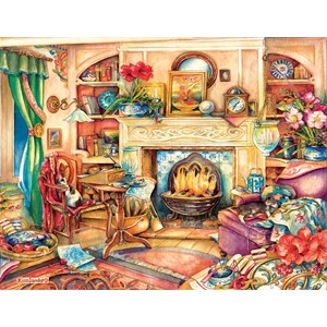 "SunsOut (23447) - Kim Jacobs: ""Fireside Embroidery"" - 1000 pieces puzzle"