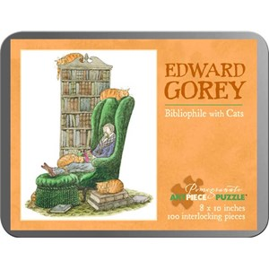 """Pomegranate (AA765) - Edward Gorey: """"Bibliophile with Cats"""" - 100 pieces puzzle"""