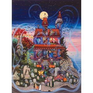 """SunsOut (60877) - Kathy Jakobsen: """"The Ghost and the Haunted House"""" - 1000 pieces puzzle"""