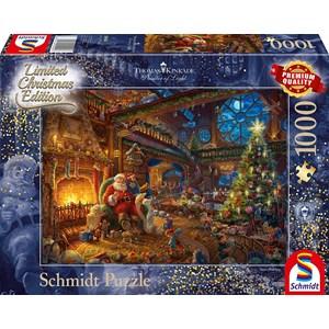 """Schmidt Spiele (59494) - Thomas Kinkade: """"Santa Claus and His Secret Helper"""" - 1000 pieces puzzle"""