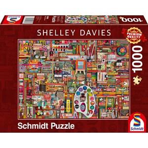 "Schmidt Spiele (59698) - Shelley Davies: ""Vintage Artist Materials"" - 1000 pieces puzzle"
