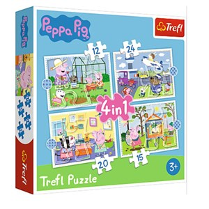 """Trefl (34359) - """"Holiday reccolection, Peppa Pig"""" - 12 15 20 24 pieces puzzle"""
