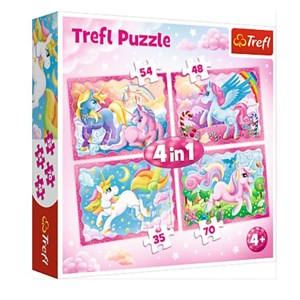 "Trefl (34321) - ""The Magical World of Unicorns"" - 35 48 54 70 pieces puzzle"