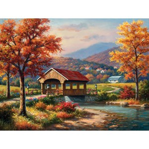 "SunsOut (36610) - Sung Kim: ""Covered Bridge in Fall"" - 500 pieces puzzle"
