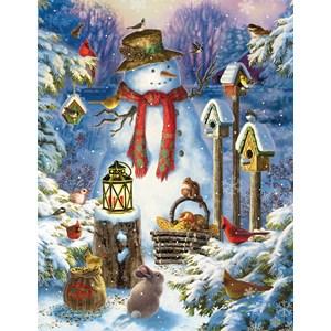 """SunsOut (59794) - Liz Goodrich Dillon: """"Snowman in the Wild"""" - 1000 pieces puzzle"""