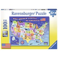 "Ravensburger (10936) - Greg Giordano: ""USA State Map"" - 100 pieces puzzle"