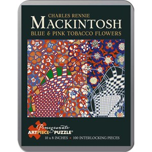 "Pomegranate (AA795) - Charles Rennie Mackintosh: ""Blue and Pink Tobacco Flowers"" - 100 pieces puzzle"