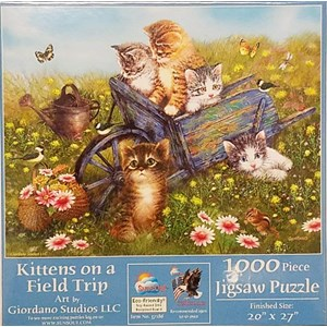 """SunsOut (37186) - Giordano Studios: """"Kittens on a Field Trip"""" - 1000 pieces puzzle"""