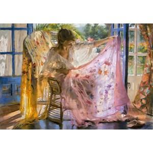 """Educa (16314) - Vicente Romero: """"Pink Shawl Vincente Romero"""" - 2000 pieces puzzle"""