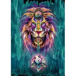 """Schmidt Spiele (59325) - Chris Saunders: """"Luminescent Lion"""" - 1000 pieces puzzle"""