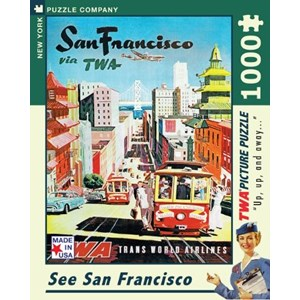 """New York Puzzle Co (AA701) - David Klein: """"See San Francisco, TWA Travel Posters"""" - 1000 pieces puzzle"""
