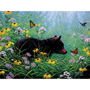 """SunsOut (69601) - Abraham Hunter: """"Black Bear and Butterfly"""" - 500 pieces puzzle"""