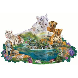 """SunsOut (96108) - Alixandra Mullins: """"Tigers at the Pool"""" - 1000 pieces puzzle"""