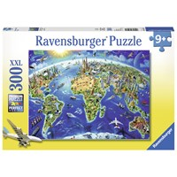 "Ravensburger (13227) - Adrian Chesterman: ""World Landmarks Map"" - 300 pieces puzzle"